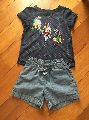 Lands End Girls Shorts And Top Size 7-8