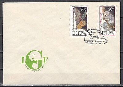 / Lithuania, Scott cat. 500-501. Bat & Dormouse issue on a First day cover.