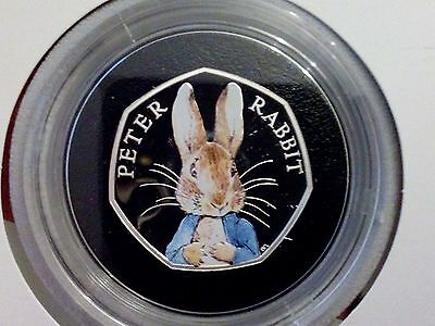 Peter Rabbit coloured silver proof 50p coin