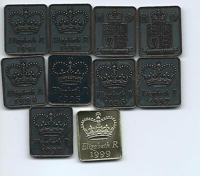 Complete Set of 1990's Royal Mint  Coin Set Medallions