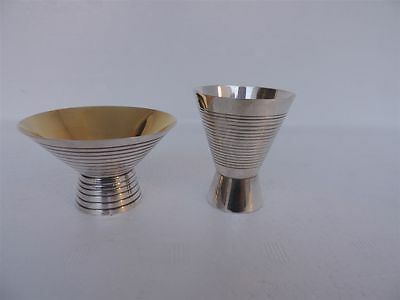 Two Exquisite Rare Art Deco Japanese Solid Sterling Silver Goblets Cups Japan