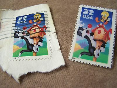 USPS Sylvester and Tweety Bird Pin and Cancelled Stamp - 1998