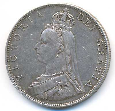 Great Britain UK Queen Victoria Silver Double Florin 1887 Roman I VF/XF