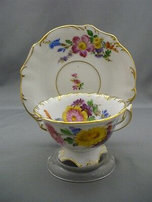 Meissen Germany Porcelain Dresden Flowers 1000 Year HAND PAINT Tea Cup Saucer -
