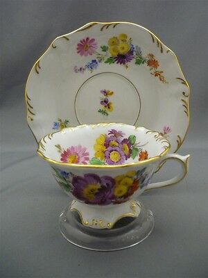 Meissen Germany Porcelain Dresden Flowers 1000 Year HAND PAINT Tea Cup & Saucer