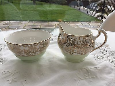 royal vale tea set milk jug & sugar bowl, green & gold chintz