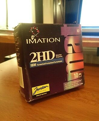 """10 x Imation 2HD 3.5"""" 1.44 MB diskettes IBM formatted sealed box"""