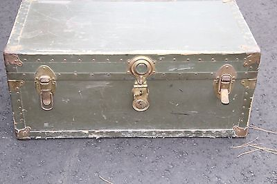 Vintage Military Green Trunk Foot Locker w/ leather handles