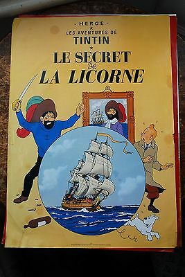 Tintin Poster, Herge, Collectable, The Secret of The Unicorn. Water Marked
