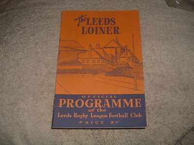 LEEDS v WARRINGTON Rugby League Programme 11th Oct 1958