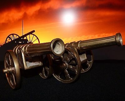 Pair of Large, Heavy, Vintage Solid Brass  Model Cannons & Carriages