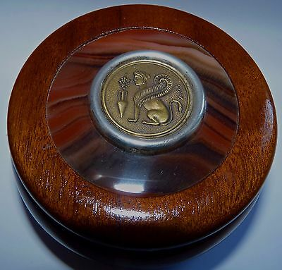 Vintage Bronze Greek/Egyptian Sphinx Coin Sterling Silver Agate Wooden Box
