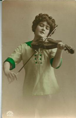 YOUNG LADY PLAYING THE VIOLIN. Coloured Postcard Coloured