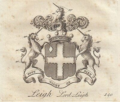 jPeerage Plate: LORD LEIGH from Collins Peerage of England. 1779