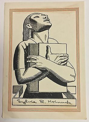 Antique Bookplate c1920-30s ROCKWELL KENT Design Woman Holding Book - Used