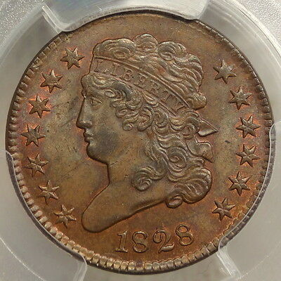 1828 Classic Head Half Cent, PCGS/CAC MS-64BN, Close to Red Brown & Very PQ