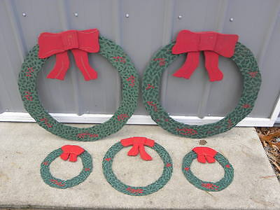 5 Vintage Handmade Outdoor Wooden Diecut Christmas Wreaths - 3 Sizes