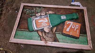 Handmade Chainsaw Art 7up w HAND Soda Pop Bottle Cola Advertising Sign