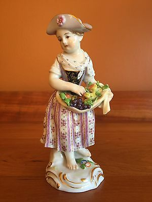 Antique Meissen Figurine Girl with Apron Filled With Fruit
