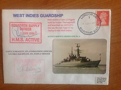 HMS ACTIVE - West Indies Guardship - Royal Navy TYPE 21 1984 - 2 Signed Cover