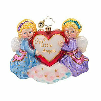 RADKO Little Angels with Heart Love Glass Ornament Made in Poland