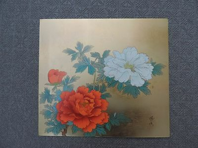 Stunning Large Signed Japanese Mixed Metal Paulownia Flower Plaque Tile Japan