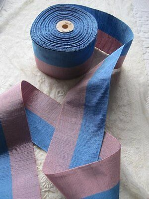 Vintage French Watered Silk Blue And Purple Ribbon Trim   1 Yard