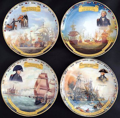 Collection Of 4 Historic British Navy Battles Fine China Plates By Danbury Mint