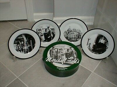 Very RARE Marshall Field's Collectible Dessert Plates 4 Set in original box