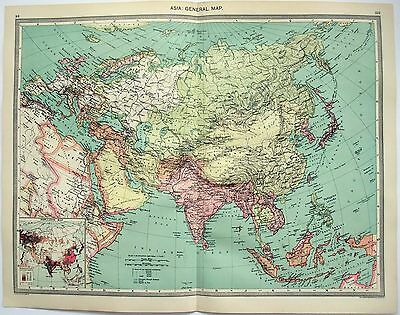 Original Map of Asia c1906 by George Philip & Sons