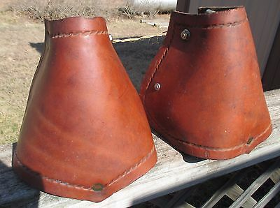 VIntage Very HEAVY Leather Covered Field Trial Hooded Saddle STIRRUPS MAKE OFFER
