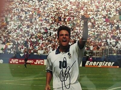 ROBERTO BAGGIO SIGNED ITALY USA 1994 JUVENTUS 8x12 PHOTO COA