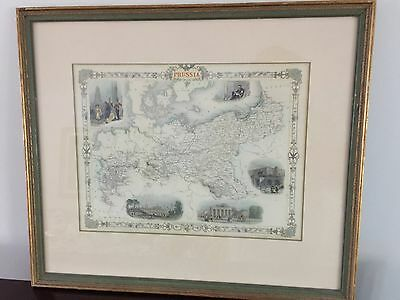 Antique Vintage Color Map of Prussia by John Tallis and John Rapkin