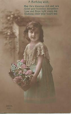 Birthday Greetings Card  posted 1915  Hand Coloured
