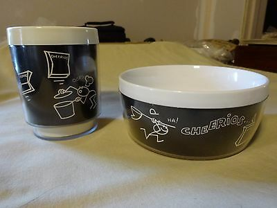 Vintage stick figure DAWN Cherrios Cup and Bowl