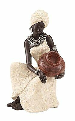 Benzara Table Top Polystone African Figure Sculpture, 10 by 6-Inch