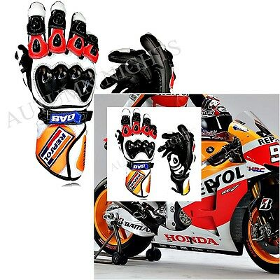 Honda Repsol Motorcycle Motorbike Leather Race Racing Track Sports Gloves