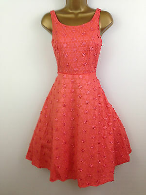 COAST Coral Rockabilly Style Evening Dress Holiday Summer Party UK Size 8