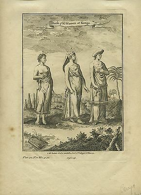 Engraving Of 3 Types Of Dress For Women In Congo c18th By J Bafire
