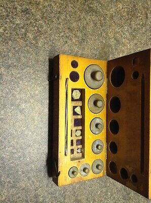 Wooden Box Of Jewellers Brass Imperial Weights.