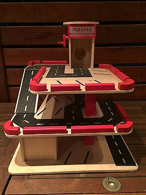 Toy Timber Car Garage With Helipad And Lift