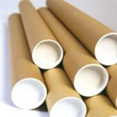 """50 X A4/A3 330mm X 50mm 13""""x2""""POSTAL TUBES WITH END CUPS STRONG CARDBOARD SPIRAL"""