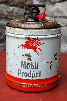 Vintage Mobil Outboard Oil -Socony Mobil Oil Company-5 Gal Container / Can