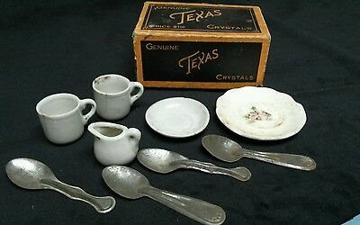 Vintage toy porcelain dishes, cups and tin spoons