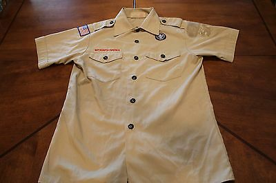 BOY / CUB SCOUT SHIRT - YOUTH LARGE (Tan) SHORT SLEEVE - OFFICIAL BSA 286