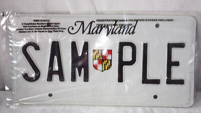 Maryland Sample License Plate State Shield
