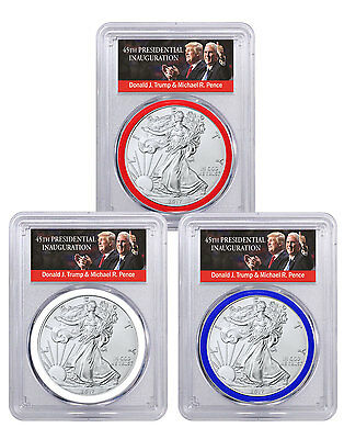 2017 Silver Eagle 3-Coin Set PCGS MS70 FS RWB Trump & Pence PRESALE SKU45780
