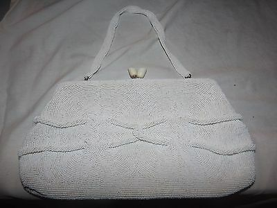 Vintage Antique Delill Belgium Ivory White Micro Beaded Purse Clutch Handbag