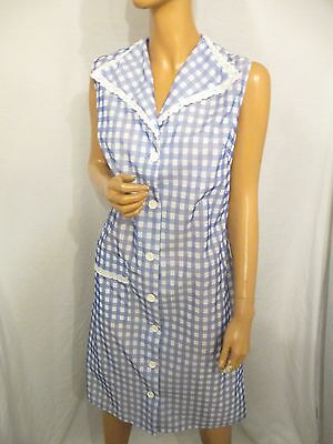 Vintage Blue Gingham Check Overall Sissy Pinny Apron Sleeveless Lace Trim 14