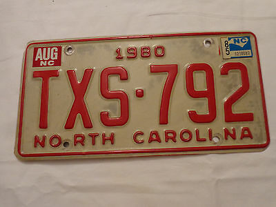 North Carolina NC Metal 1980  License Plate 80 Car Tag TXS 792 Red on White